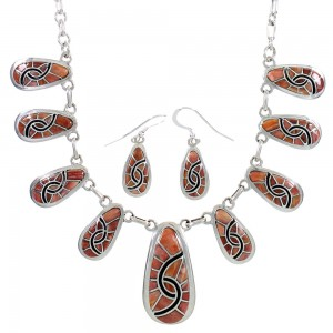 Oyster Shell Sterling Silver Link Necklace And Earrings Set AS27012