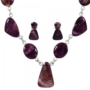 Southwest Purple Oyster Shell Link Necklace Earring Set PS61143