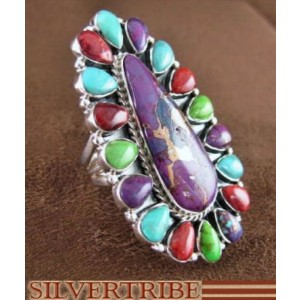 Turquoise And Multicolor Sterling Silver Ring Size 5-3/4 RS35807