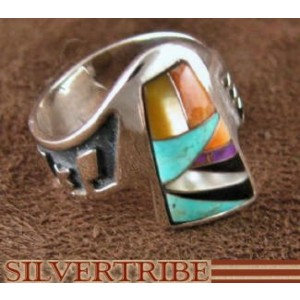 Turquoise Multicolor Inlay Sterling Silver Ring Size 7-1/4 AS37229