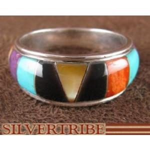 Multicolor Sterling Silver Ring Size 8-1/2 AS39512