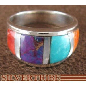 Multicolor Inlay Genuine Sterling Silver Ring Size 7-3/4 AS39282