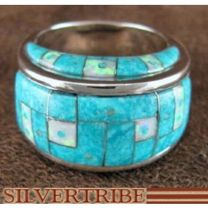 Turquoise Opal Inlay Genuine Sterling Silver Ring Size 6-1/4 AS38468