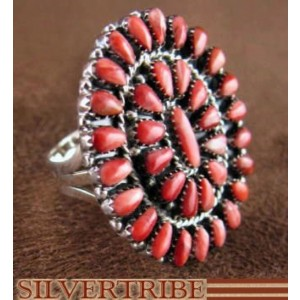 Genuine Sterling Silver And Red Oyster Shell Ring Size 7-1/2 RS38973