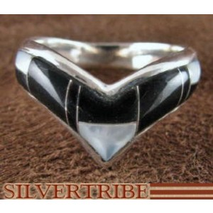Sterling Silver Mother Of Pearl Black Jade Ring Size 6-3/4 RS42065