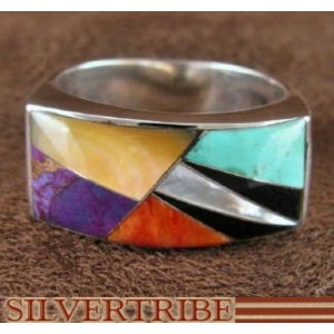 Multicolor Turquoise And Sterling Silver Ring Size 7-1/2 AS41293