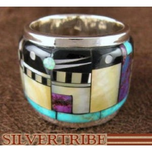 Turquoise Multicolor Native American Design Ring Size 6-3/4 NS41892