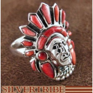 Red Oyster Shell Chief Head Sterling Silver Ring Size 10-3/4 NS43332