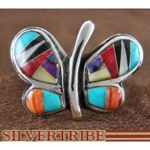 Multicolor Inlay Sterling Silver Butterfly Ring Size 6-3/4 AS42948