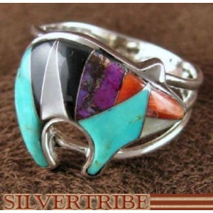 Oyster Shell Multicolor Sterling Silver Bear Ring Size 6-1/2 AS43273