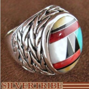 Genuine Sterling Silver And Multicolor Inlay Ring Size 7-1/2 DS43719