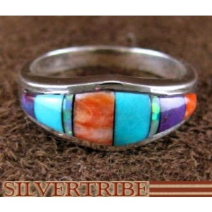 Multicolor Inlay Jewelry Sterling Silver Ring Size 7-3/4 RS46862