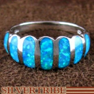 Blue Opal Inlay Genuine Sterling Silver Ring Size 6 Jewelry NS50060
