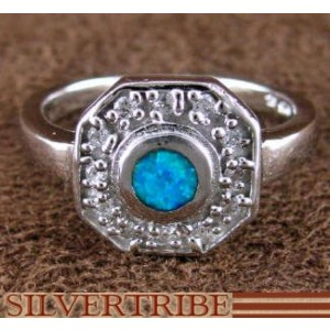 Sterling Silver And Blue Opal Inlay Jewelry Ring Size 7-3/4 DS51654