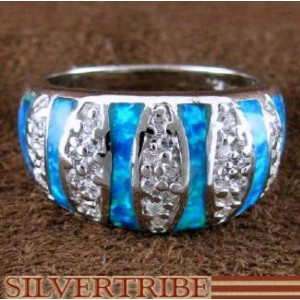 Blue Opal Inlay And Authentic Sterling Silver Ring Size 6-3/4 DS50966