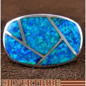 Blue Opal Inlay And Genuine Sterling Silver Ring Size 6 DS51047