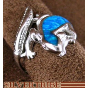 Sterling Silver And Blue Opal Inlay Lizard Ring Size 6-1/4 DS51079