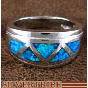 Blue Opal Inlay Sterling Silver Ring Size 6 Jewelry AS50063