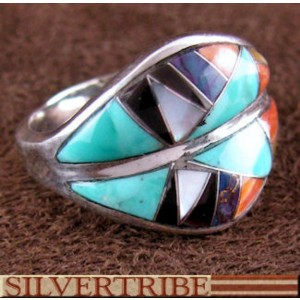 Southwest Multicolor Silver Ring Size 6-1/2 Jewelry GS56757