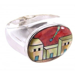 Native American Village Or Pueblo Design Ring Size 12-1/4 AW67870