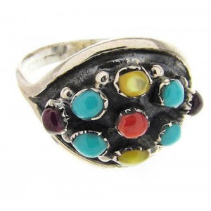 Authentic Sterling Silver Multicolor Ring Size 6-3/4 OS60474