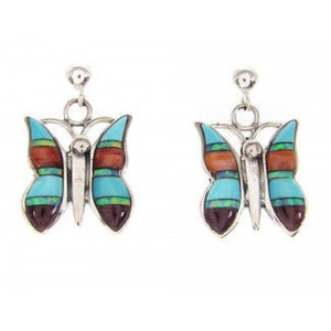 Genuine Sterling Silver Multicolor Inlay Butterfly Earrings QS57707