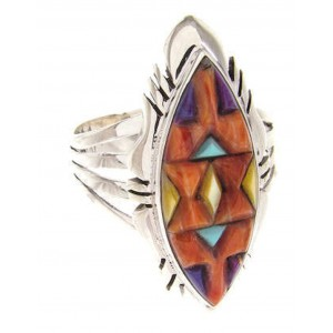 Southwest Multicolor Sterling Silver Ring Size 8-1/2 GS58764
