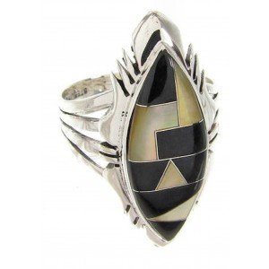 Yellow Mother Of Pearl And Black Jade Ring Size 8-1/2 GS59208
