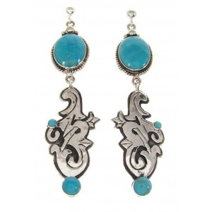 Turquoise And Silver Post Dangle Earrings IS59059