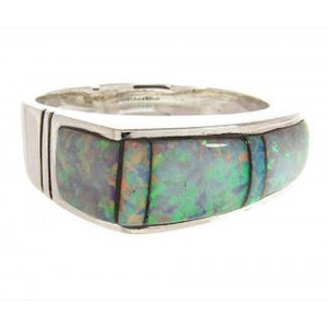 Sterling Silver Southwesten Opal Inlay Ring Size 8 YS58861