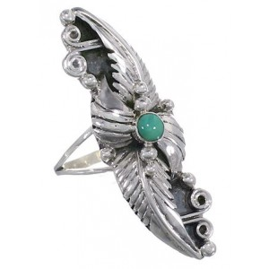 Southwest Turquoise Sterling Silver Scalloped Leaf Ring Size 7 OS59038