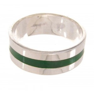 Southwest Sterling Silver Malachite Inlay Ring Band Size 5-1/4 PS59521