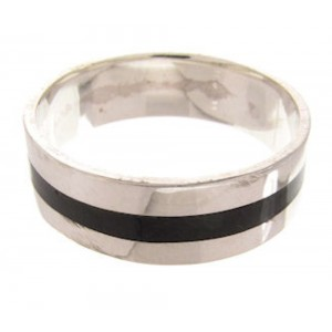 Southwestern Onyx Inlay Sterling Silver Ring Band Size 8-3/4 AW74641