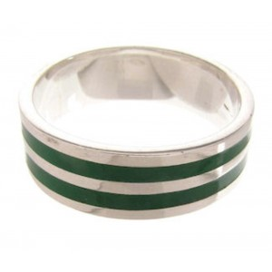 Malachite Inlay Southwest Sterling Silver Ring Size 7-1/4 PS59988