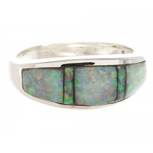 Southwest Sterling Silver Opal Inlay Ring Size 7-3/4 YS59372