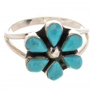 Turquoise Sterling Silver Southwestern Flower Ring Size 6-1/4 PS62701