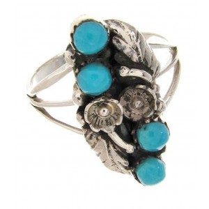 Turquoise Jewelry Silver Southwestern Ring Size 7-1/2 YS62477