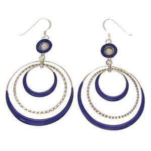 Sterling Silver and Lapis Inlay Hook Dangle Earrings IS59671