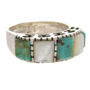 Turquoise Mother Of Pearl Silver Jewelry Ring Size 6-1/2 MW64102