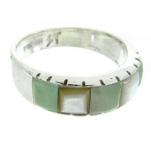 Southwestern Turquoise Mother Of Pearl Inlay Ring Size 8-1/2 AW63651