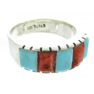 Apple Coral And Turquoise Southwestern Inlay Ring Size 5-1/2 AW63695