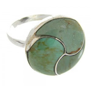 Southwest Sterling Silver And Turquoise Ring Size 8-1/2 YS63496