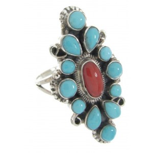 Turquoise Coral Southwest Silver Ring Jewelry Size 6-1/2 IS61811