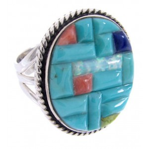 Sterling Silver Turquoise Multicolor Inlay Ring Size 5-3/4 AW68920