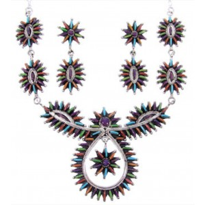 Sterling Silver Multicolor Link Necklace and Earrings Set MW66971