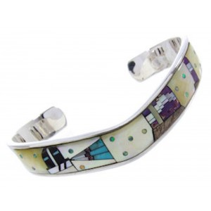 Multicolor Native American Mesa Design Jewelry Cuff Bracelet YS67440