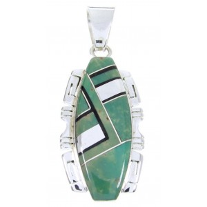 Turquoise Jet Inlay Silver Pendant JW66024