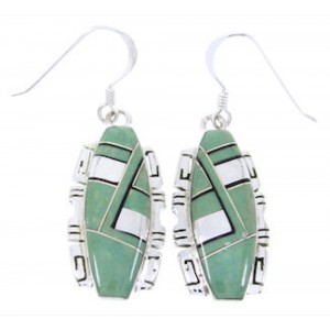 Silver Jewelry Turquoise And Jet Hook Earrings JW67151