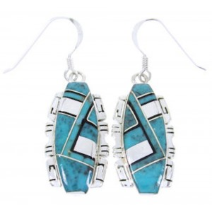 Jet And Turquoise Sterling Silver Earrings JW66734