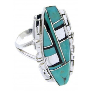 Southwestern Turquoise Jet Sterling Silver Ring Size 6-3/4 BW66547